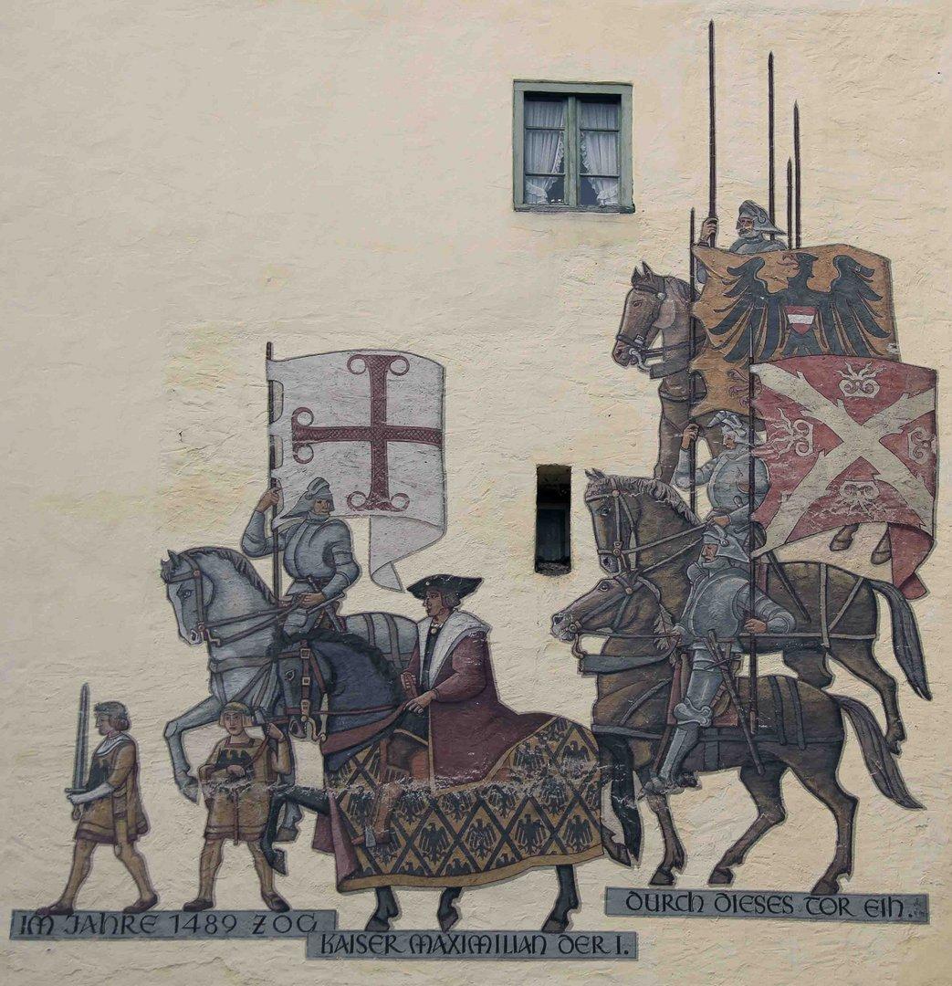 Wappen auf dem Ulmer Tor Turm in Memmingen