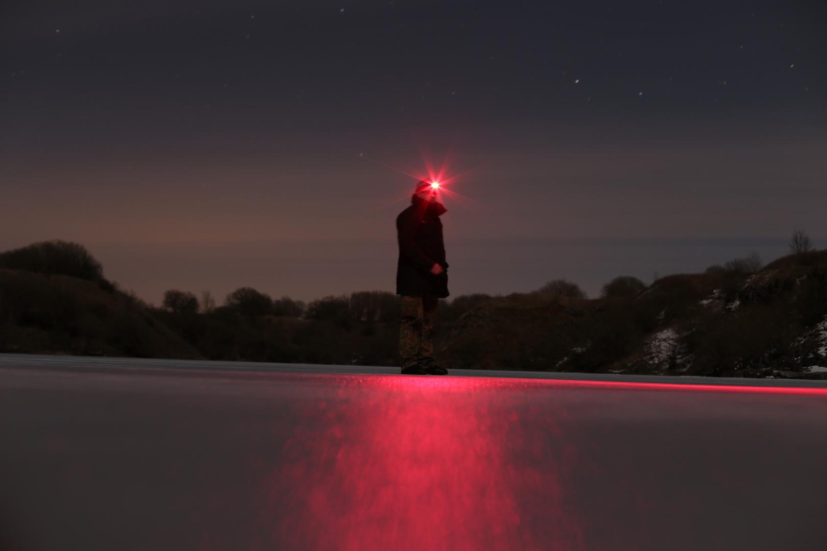 Warmes Licht auf kaltem Eis