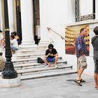 Warten vor der Oper in Venedig