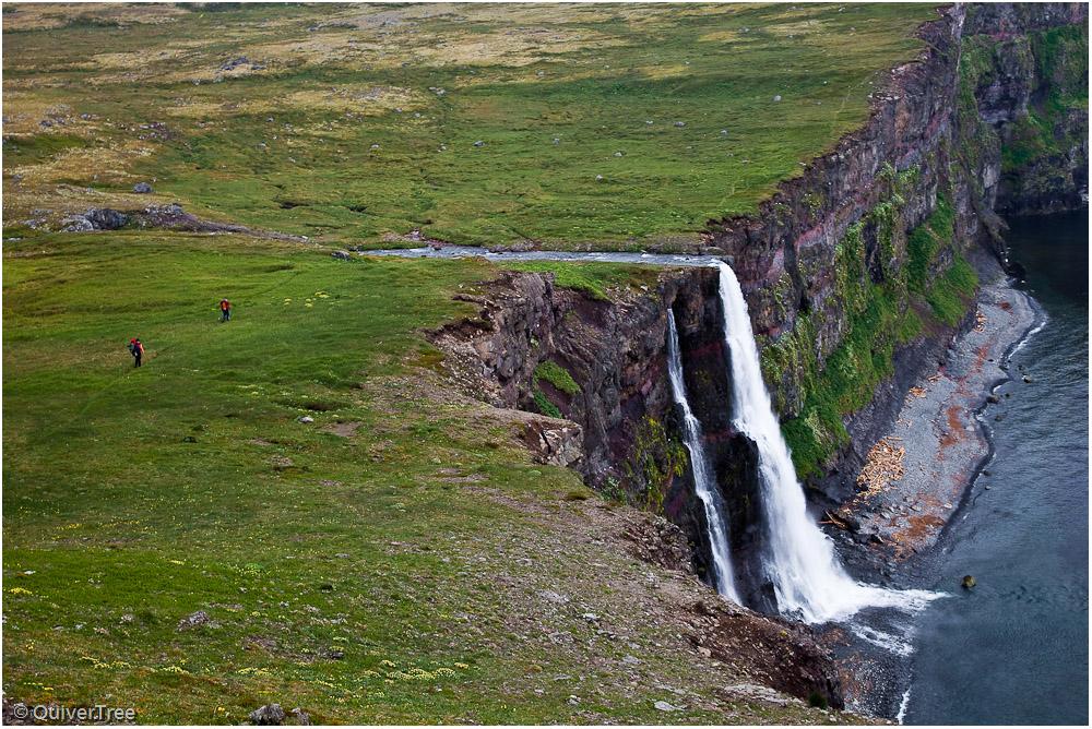 Wasserfall des Drífandi, Hornstrandir, Island.