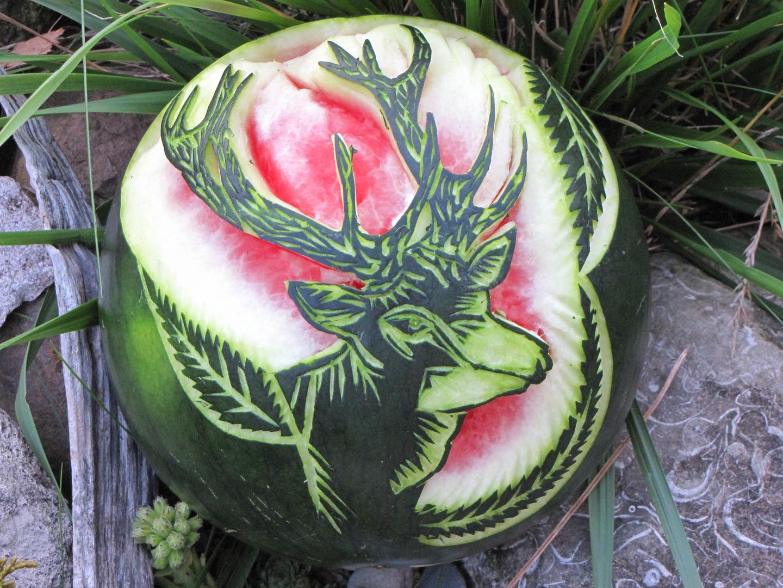 Gemeinsame Wassermelone Geschnitzt Foto & Bild   stillleben, essen & trinken #NS_38