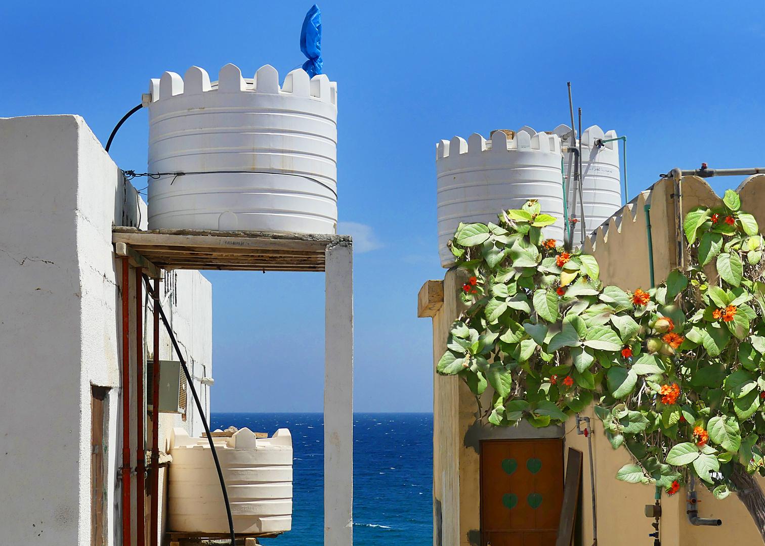 Wassertanks und der Golf von Oman, samt Mittwochsblümchen