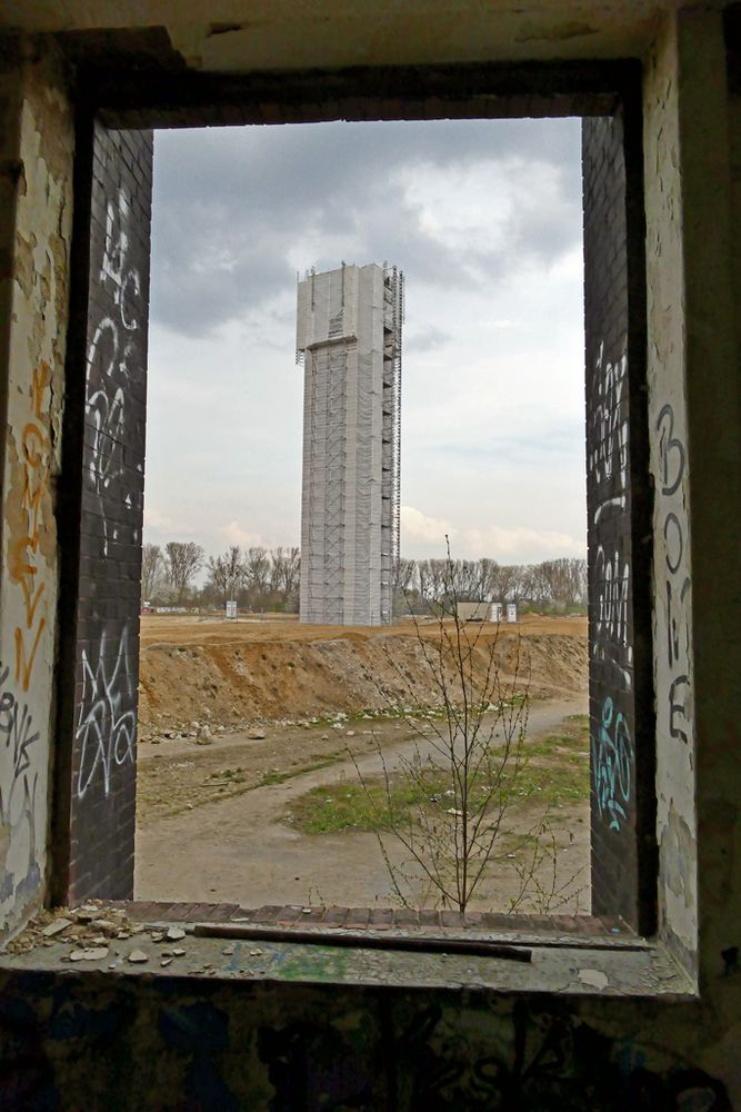Wasserturm im (Fenster) Bilderrahmen