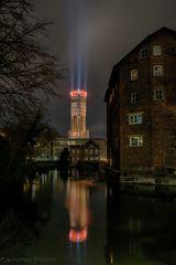 Wasserturm mit 4 Kerzen