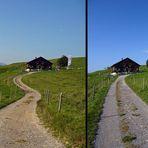 """""""Weg zur Siede Alpe und der Blick zurück zum kleinen Stall"""""""