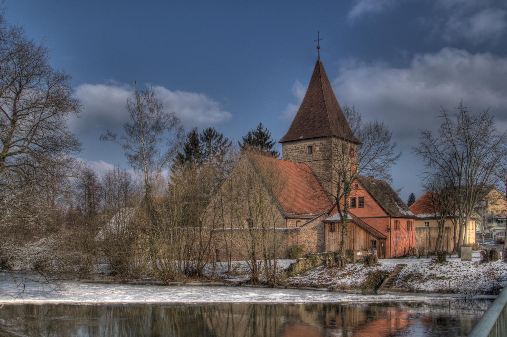Wehrkirche Katzwang Winterimpressionen 2012 (5) HDR
