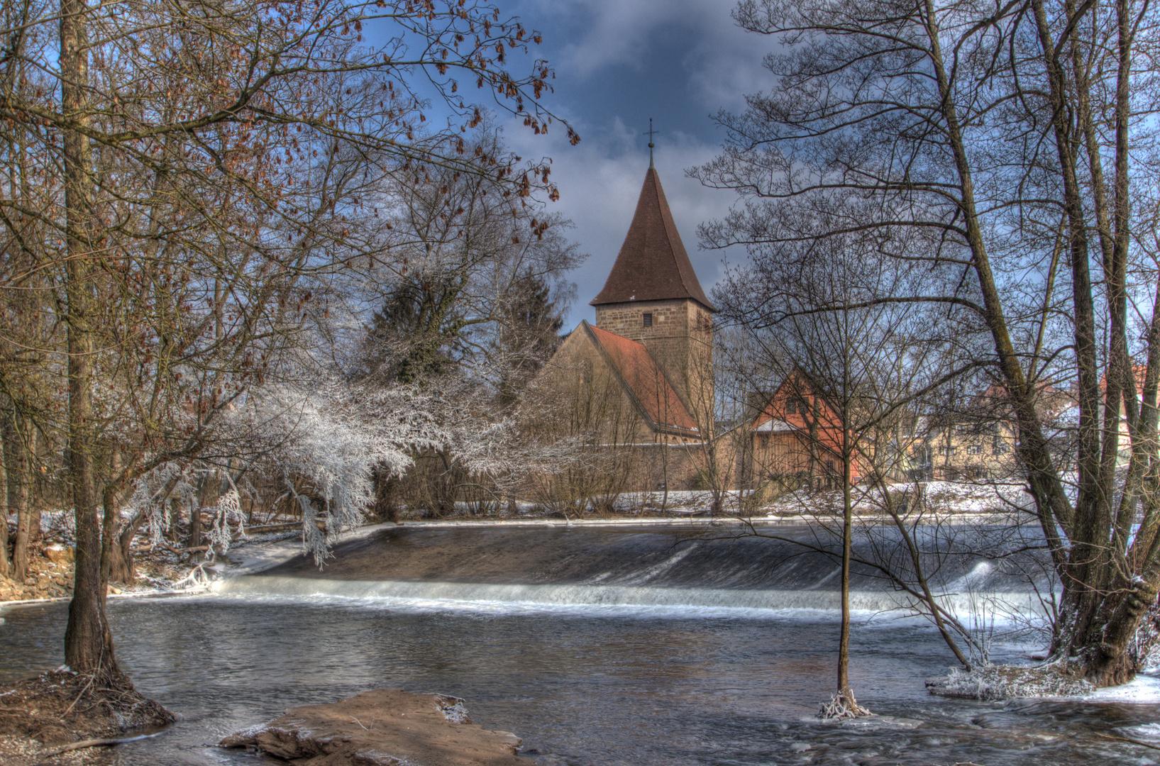 Wehrkirche Katzwang Winterimpressionen 2012 (6) HDR