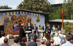 Weihe-Feier für die größte Fassaden-Ikone Thüringens