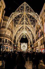 Weihnachtliches Treiben im nächtlichen Malaga (Andalusien, Spanien)