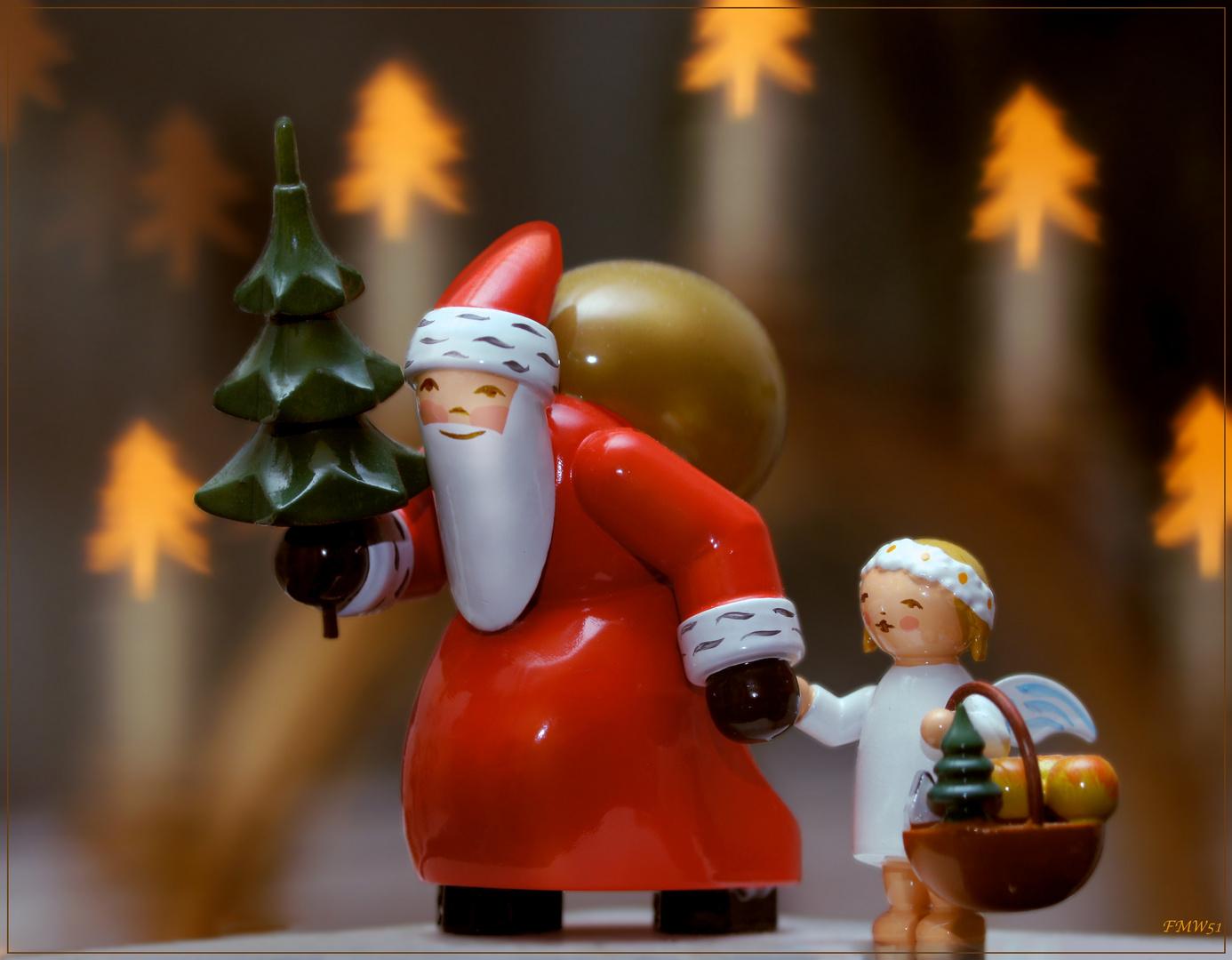 Weihnachtsgrüße Christkind.Weihnachtsmann Und Christkind Foto Bild Gratulation Und