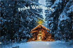 Weihnachtswald mit Krippe