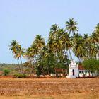 Weiße Kirche unter Palmen