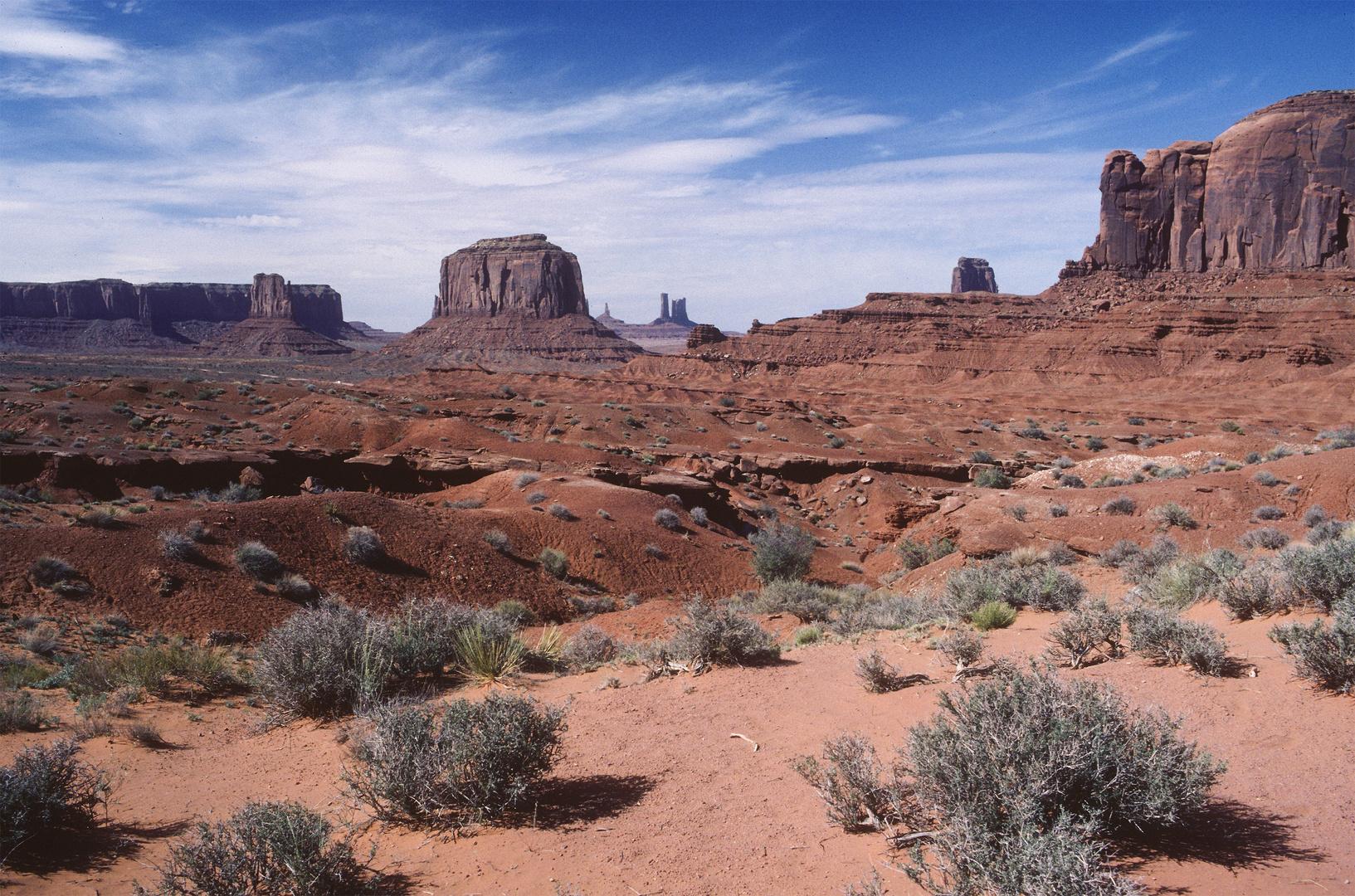 Weit in der Wüste des Monument Valley, Navajo Country, UT