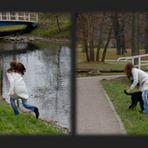 Welpe, Mensch, Spaziergang und jemand der Fotos macht!