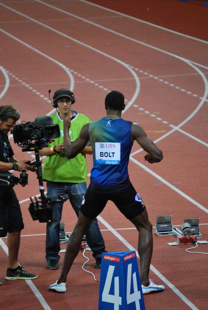 Weltklasse Zürich 2013 - Bolts Pose VOR dem Rennen
