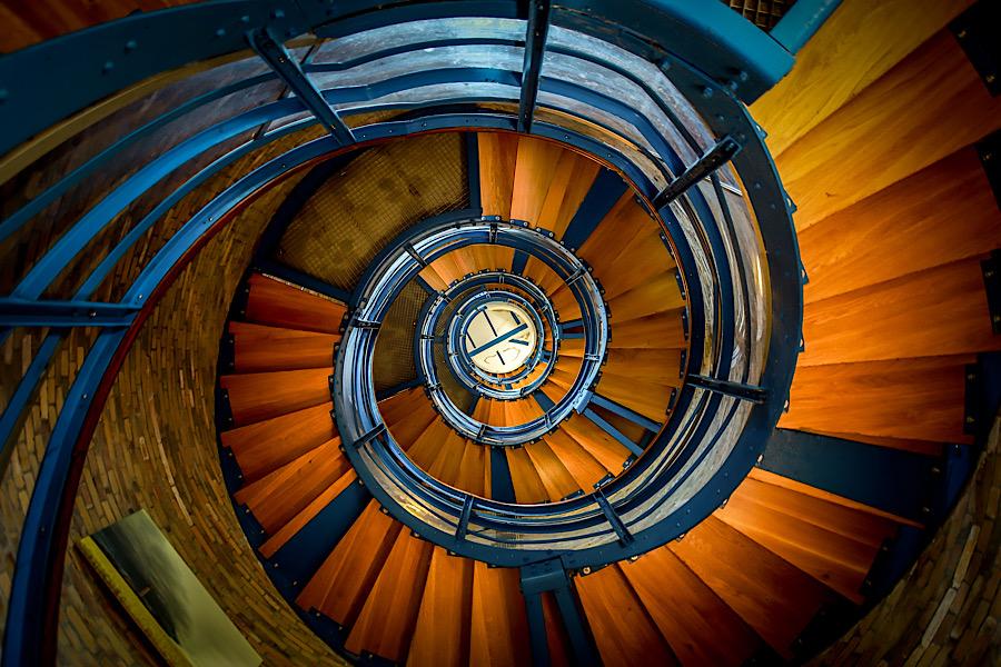 Wendeltreppe im Leuchtturm in Flügge auf Fehmarn.