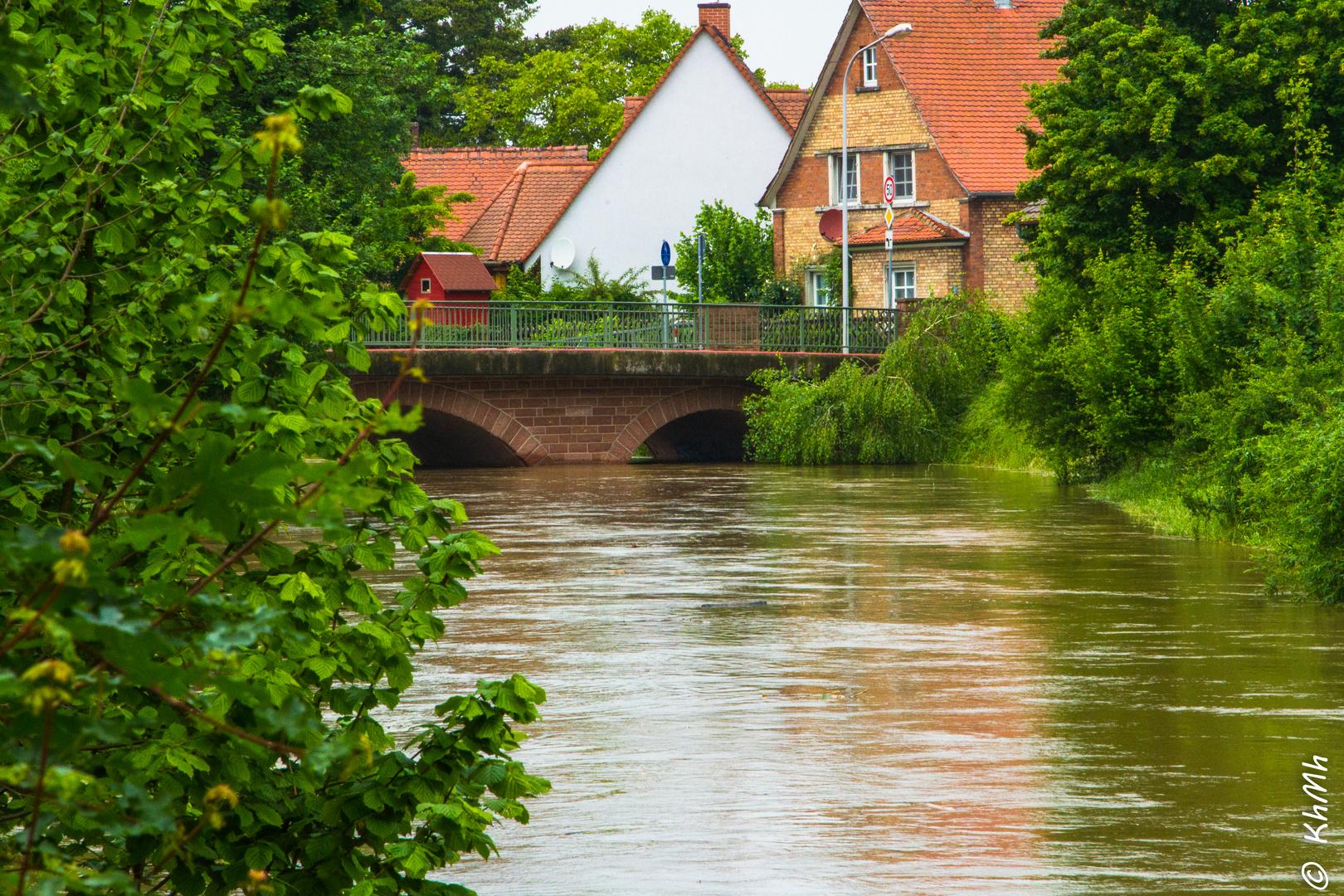 Weschnitz mit Hochwasser