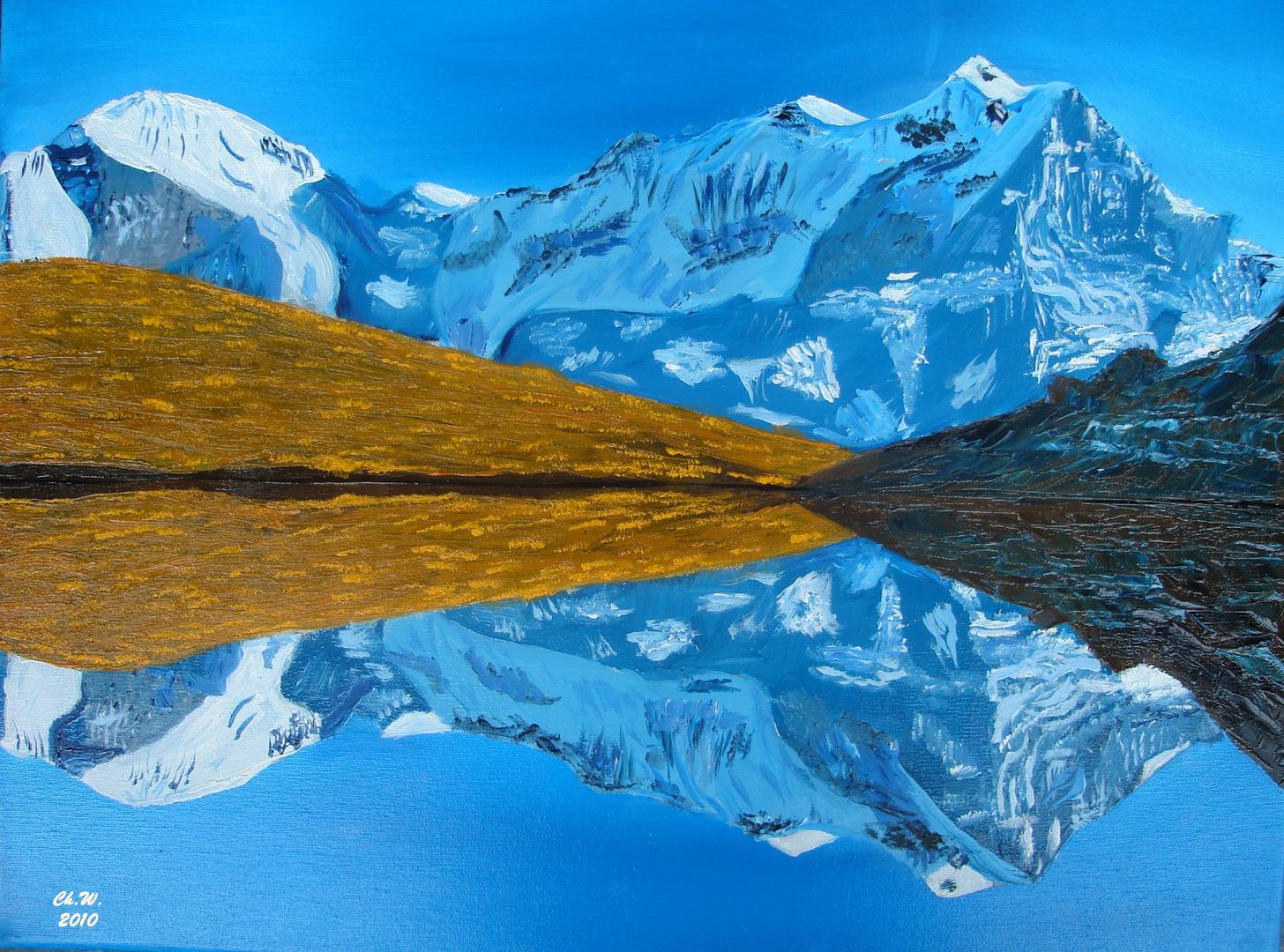 Wetterhorn und Hornseeli im Berner Oberland Schweiz