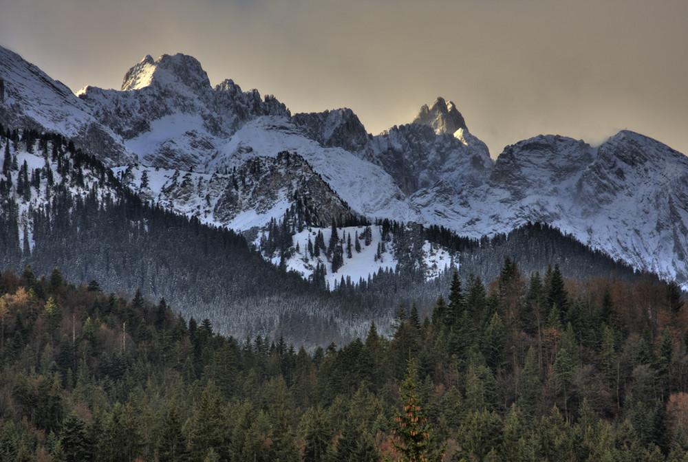 Wettersteingebirge im Sonnenaufgang