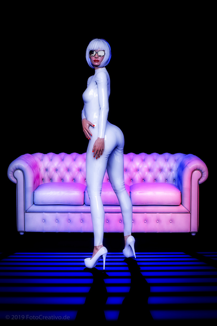 White Catsuit at deep blue light