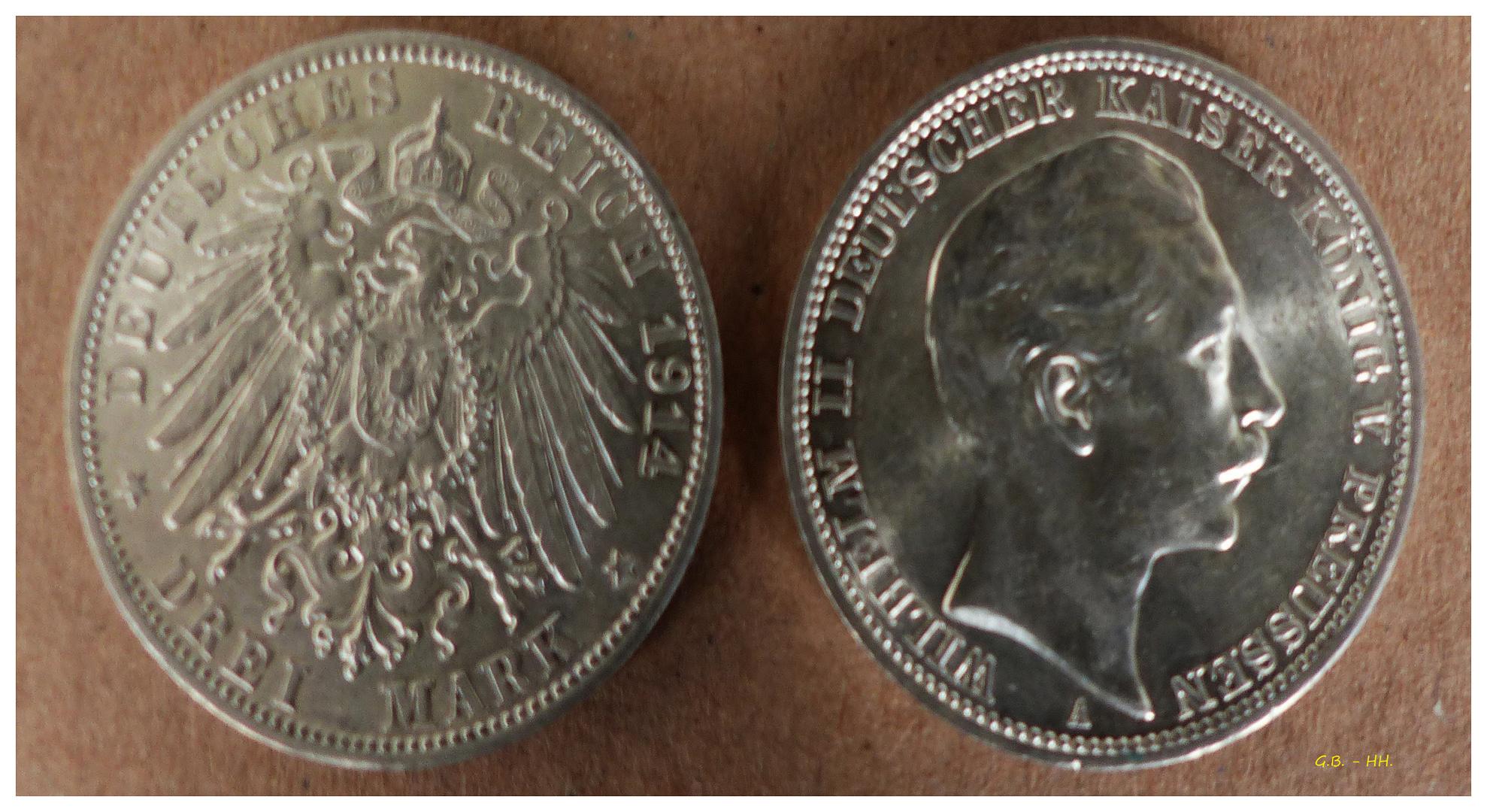 Wie Dazumal Deutsches Reich 3 Mark 1914 Foto Bild