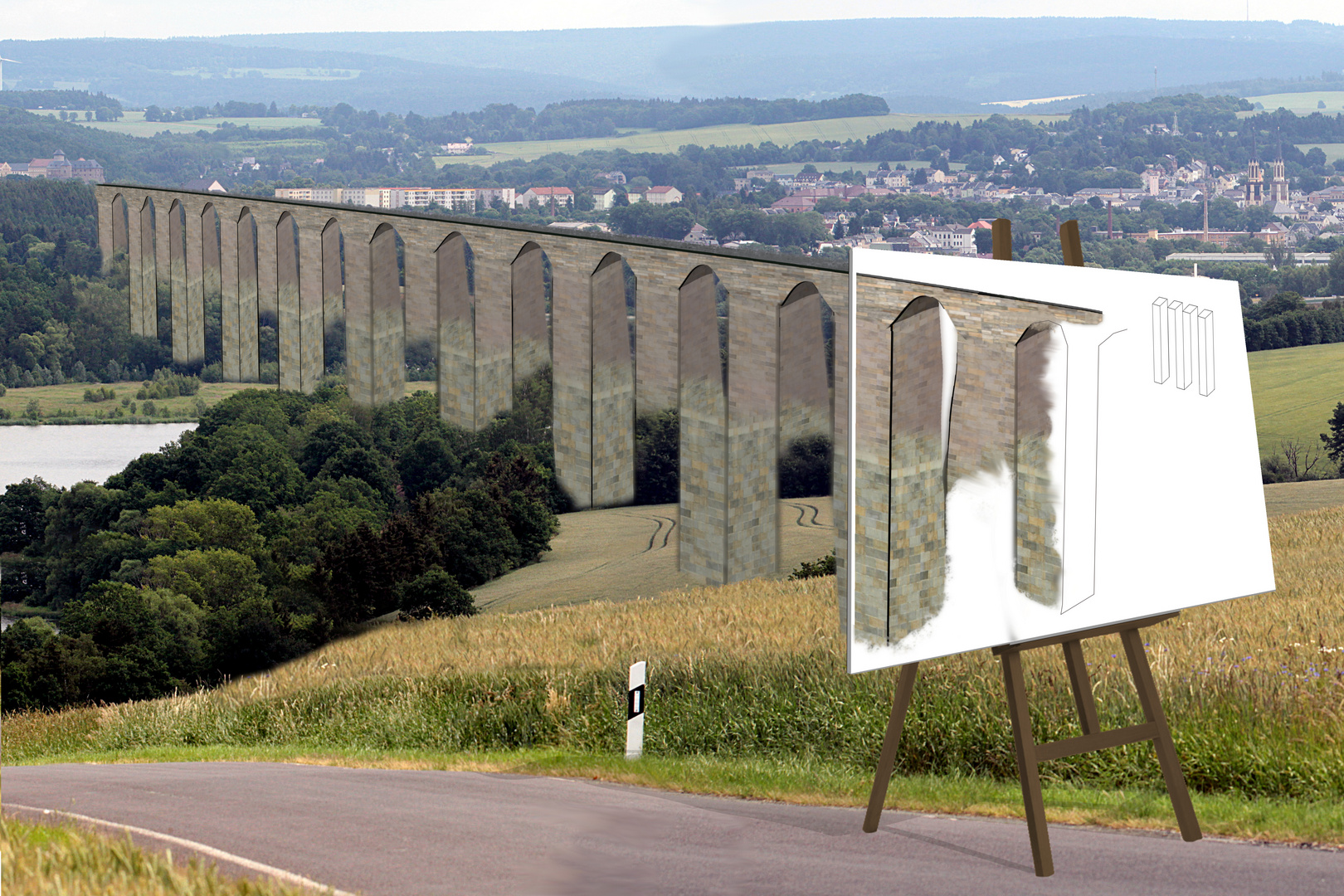 Wieviel Brückenpfeiler sind zu sehen?