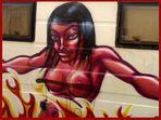 wild censored woman burning