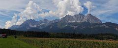 Wilder Kaiser in Tirol von einem Feld Nähe Kitzbühel