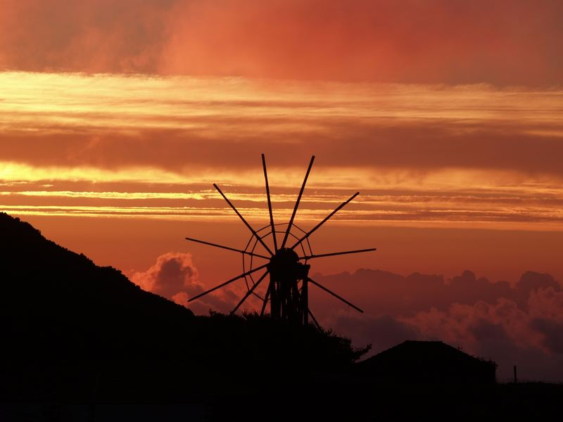 wind mill before sunset