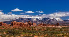 Windows Section, La Sal Mountains, Arches NP, Utah, USA