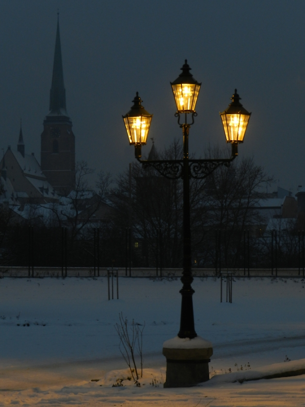 Winter evening in town