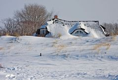 Winter hinter dem Deich
