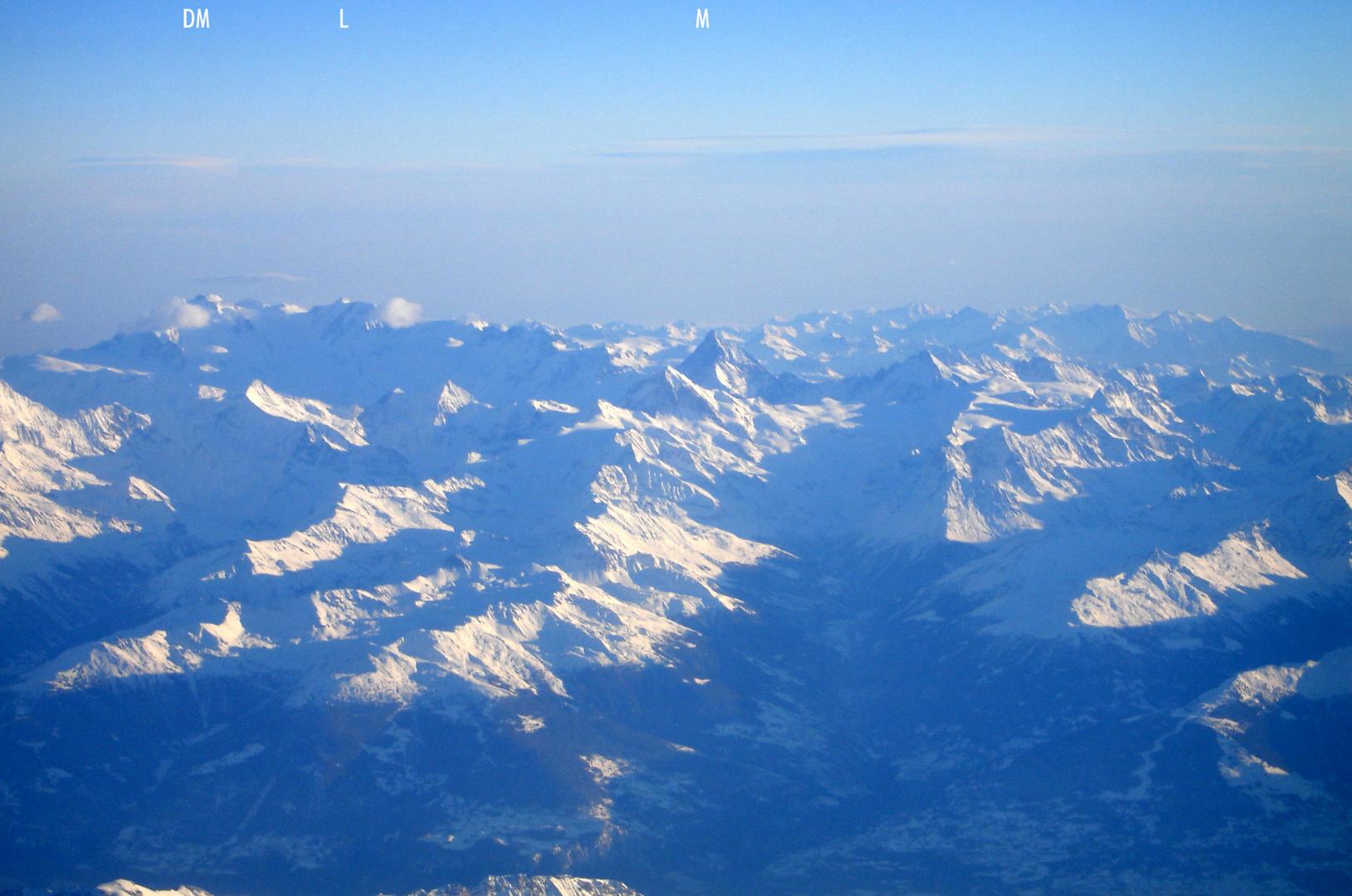 Winter im Hochgebirge, aus der Luft betrachtet (5) - Schweizer Viertausender