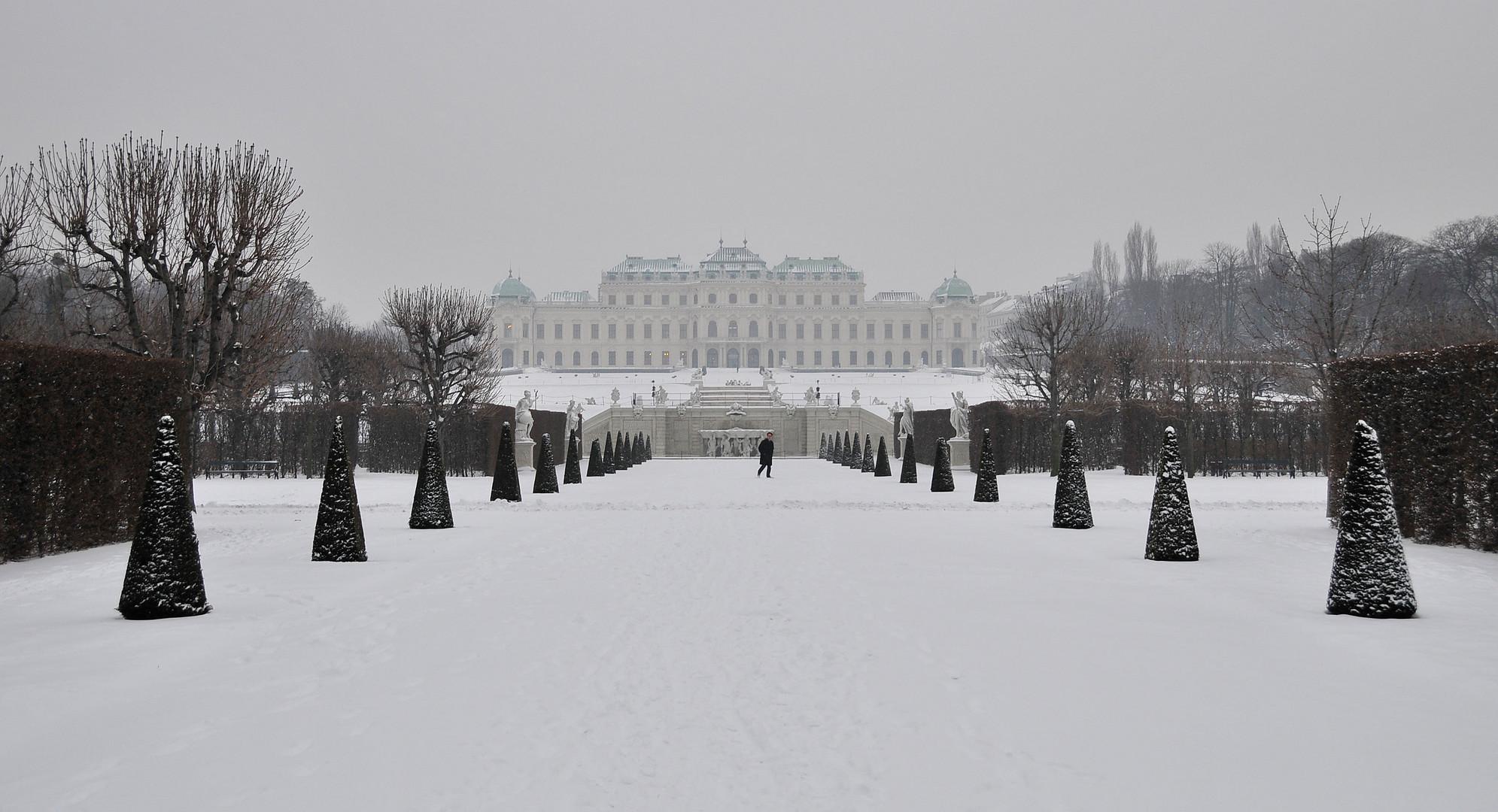 Winter im Park des Schlosses Belvedere (Wien)