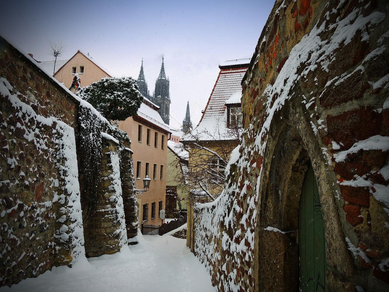 Winter in den Gassen von Meissen