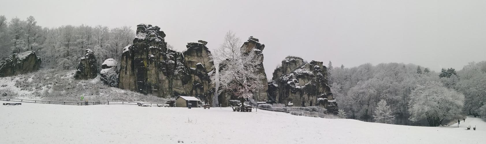 Winter Panorama Aufnahme Externsteine