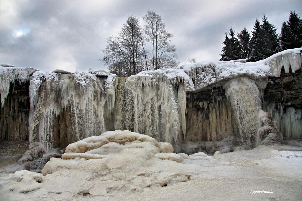 Winter waterfall in Estonia