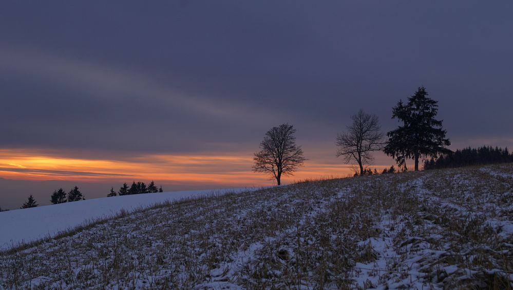 Winterabend auf rund 1000 Metern über dem Meer