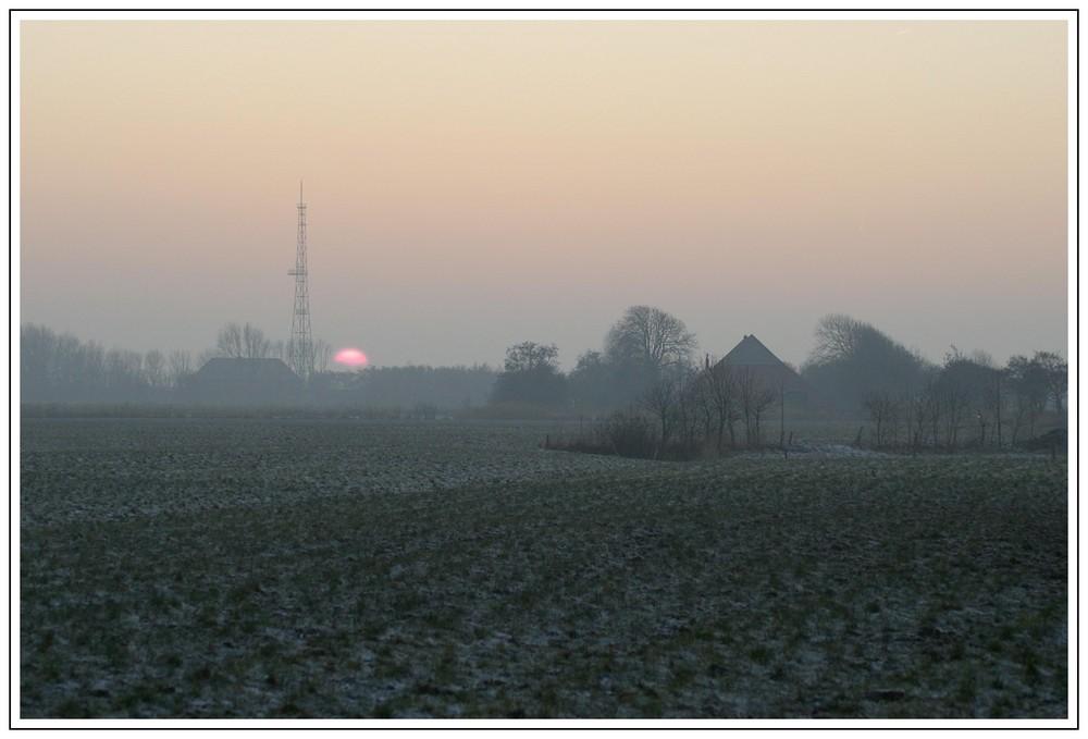 Winterabend in Westermarsch ( Norddeich Radio )