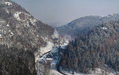 Winterdampf im Oybintal