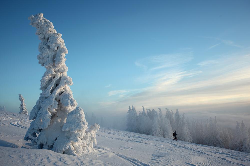 Winterlandschaft mit Schneefiguren und Wanderer