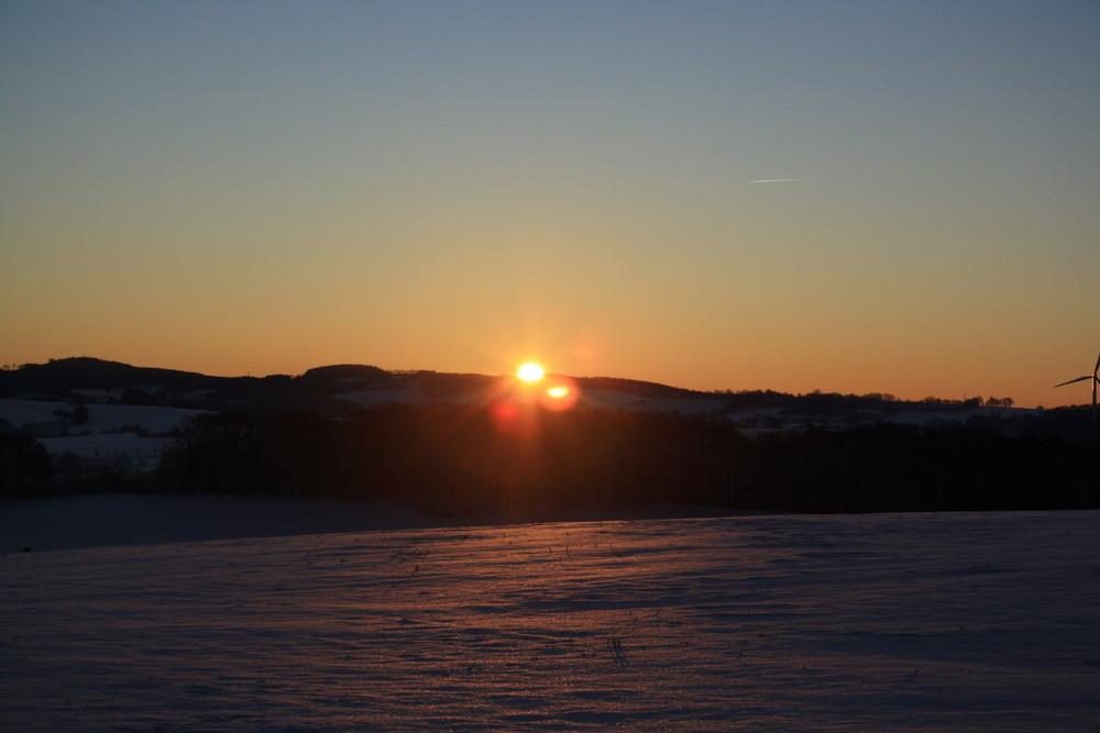 Winterlicher Sonnenaufgang in Vlotho