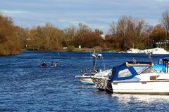 Winterlicher Wassersport auf dem Altrhein bei Lampertheim