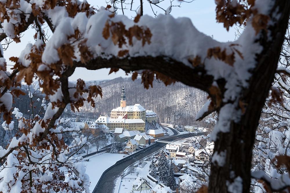 Winterliches Schloss Weesenstein