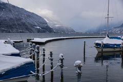 Winterruhe im Sporthafen am Thunersee ( CH )