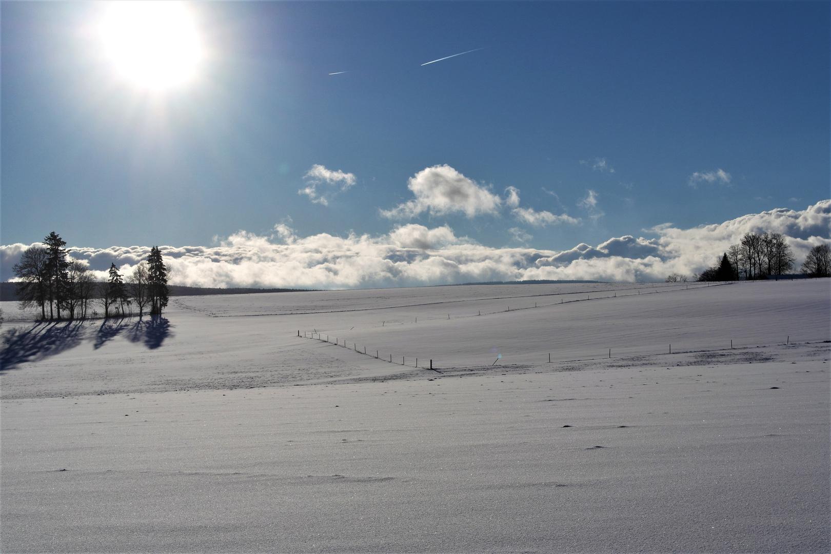 Wintersonne über Neuschnee