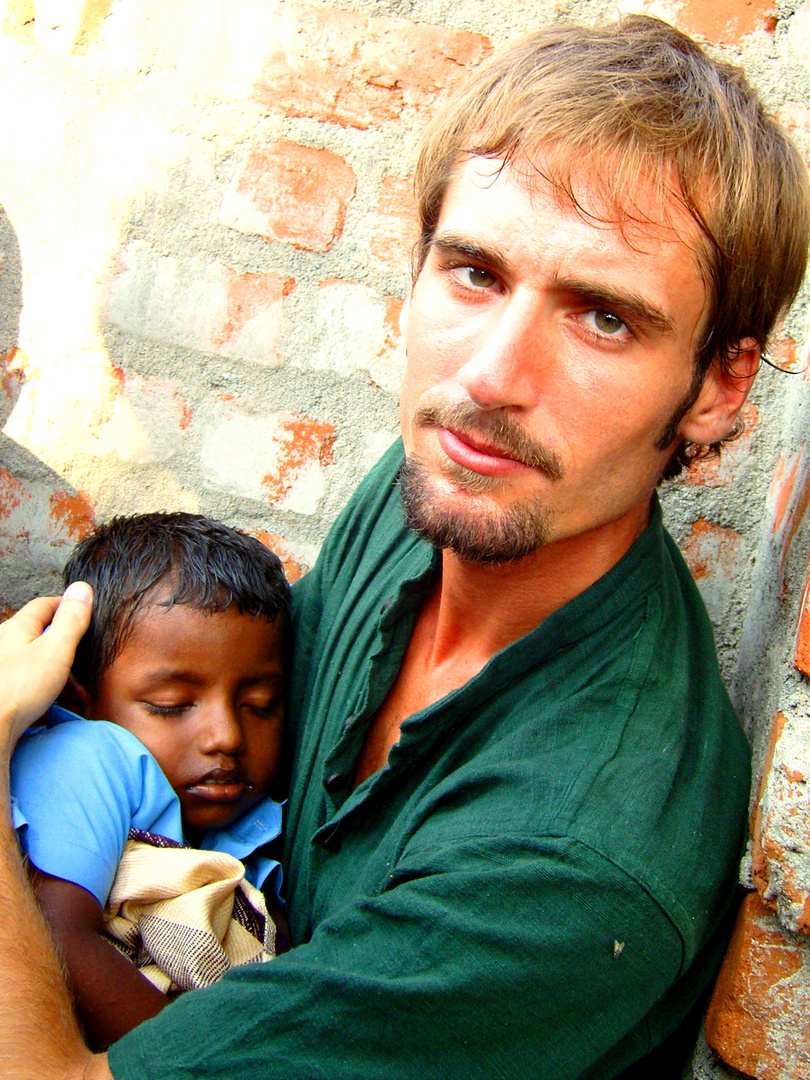 With a children, India