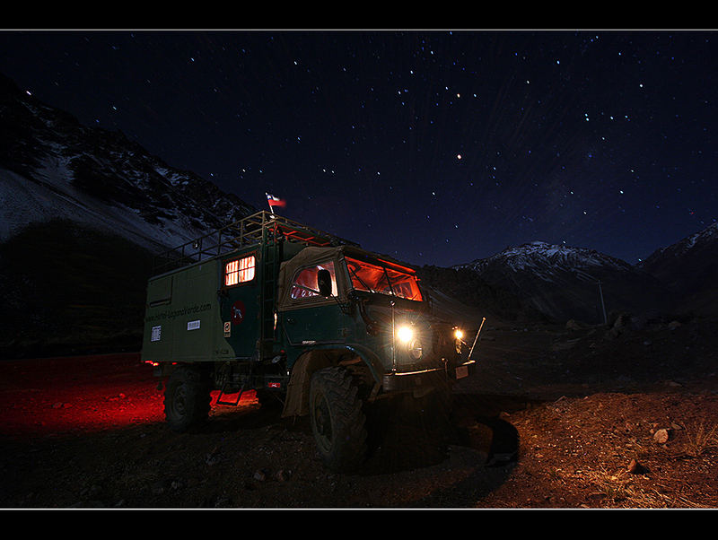 with the unimog - near the top of the world -