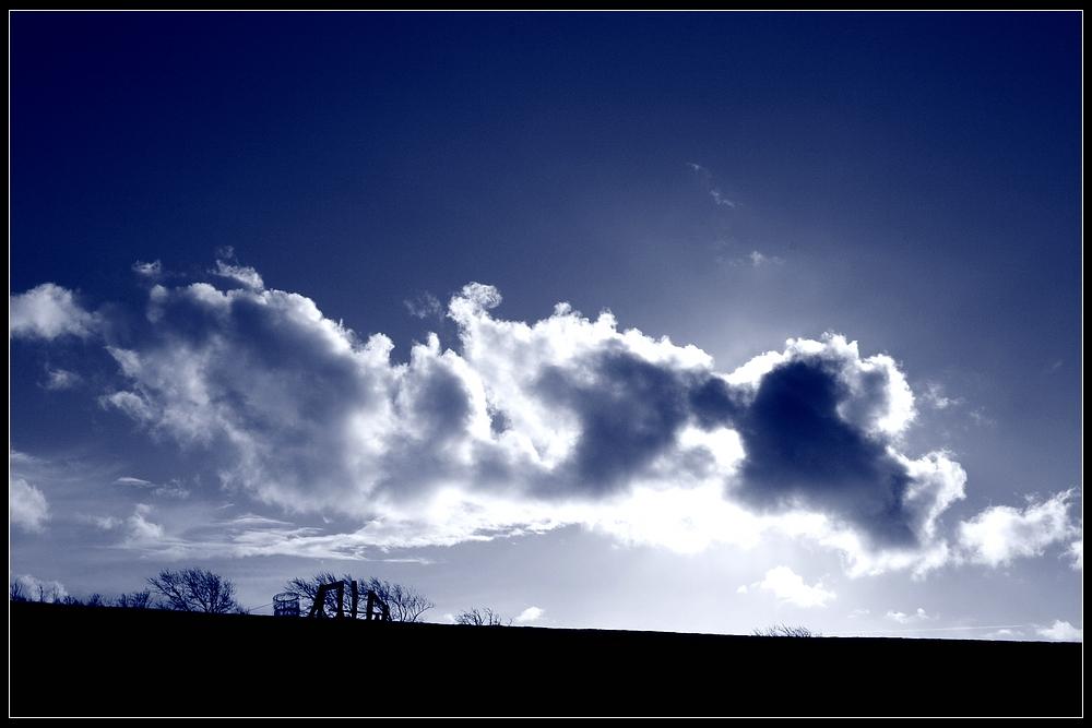Wolken über dem Deich auf Föhr