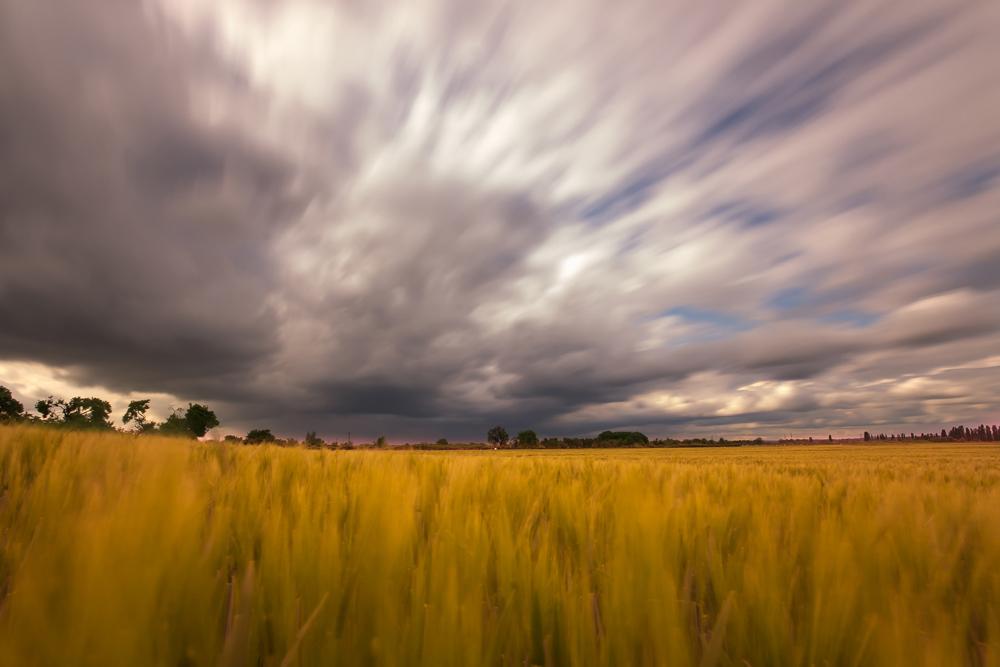 Wolken über Feldern